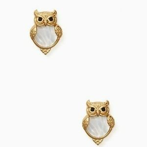 Kate Spade into the woods owl studs earrings NWT